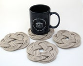 Nautical Woven Coasters Tan Cotton Turkshead Weave Set of 4