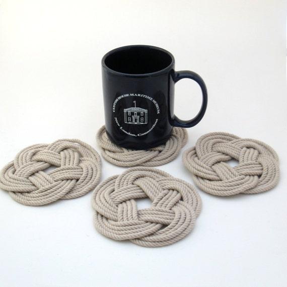 Nautical Woven Coasters Tan Cotton Turkshead Weave Set of 4