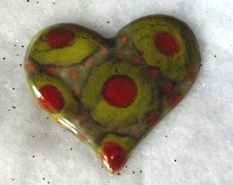 Sparkly Mossy Green  and Red Heart Brooch