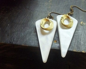 Othala. Faux Mother of Pearl geometric points and golden O's decadent upcycled earrings sacred geometry runes