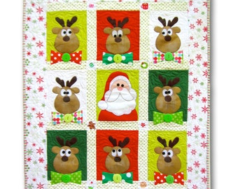 The Flight Crew- A quilted Christmas wall hanging