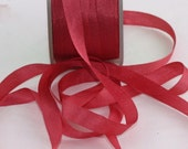 "Silk Ribbon, Rose Silk Ribbon, 1/4"" wide by the yard, Weddings, Gift Wrapping, Sewing, Silk Trim, Home Decor, DIY Wedding, Party Supplies"