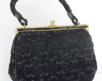 Vintage Cara Tapestry Purse or Handbag. Black Color with Kiss Lock Closure.