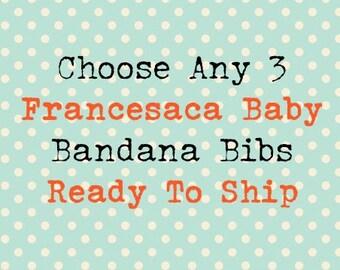 Choose Any 3 Bandana Bibs, baby, bib, baby bib, bandana bib, baby toddler bandana bib, custom order, drool bib, bib set, minky, teething bib