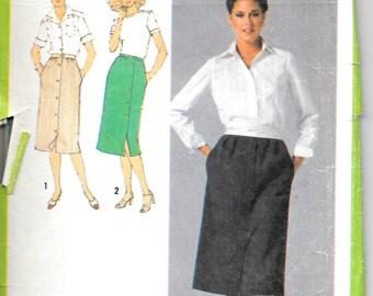 """SIMPLICITY 9001 Sz 12 Waist -26 1/2"""", Button down Skirt Pattern 1970's Retro"""