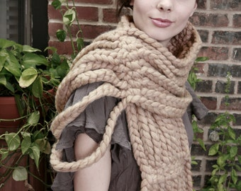 Tiered Chain Open Scarf in 100% Ultra Soft Wool (choose your colors!)