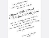Scripted Wedding Invitations, Vintage Glam Wedding suites, Calligraphy Font
