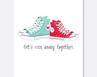 Run Off Together Anniversary Card, Anniversary Card, Cute Anniversary Card, Sweet anniversary Card, Tennis Shoe Card, Sports Card,