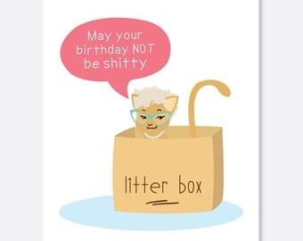 Cat Birthday Card, Funny Birthday Card, Silly Birthday Card, litterbox