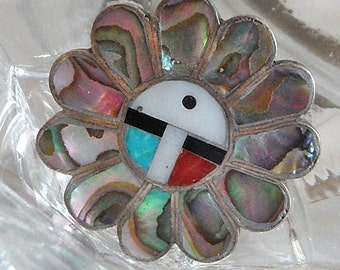 Vintage Zuni Flower Ring. Sterling Silver. Coral. Mother of Pearl. Black Jet. Turquoise. Abalone. Native American.