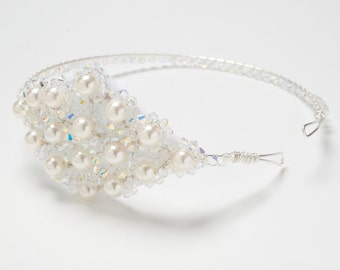 COCO - Sparkly swarovski crystal and pearl side tiara - made to order - FREE SHIPPING