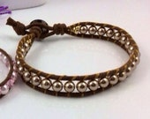 Bronze Medal Crystal Pearls on THICK Brown Cord Wrapped Bracelet