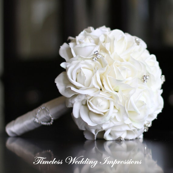 Wedding White Roses: Items Similar To Wedding Bouquet White Real Touch Roses