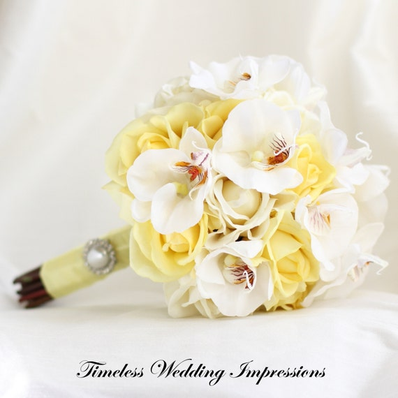 Yellow Wedding Bouquet Orchids Roses Bridal Silk Flowers Real Touch Pearl Brooch