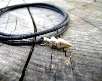 Men  wrapping bracelet - Wild - men black wrap bracelet natural cotton cord silver spike