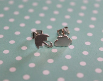 Matte Rhodium Plated Mini Cloud and Umbrella Earrings on .925 sterling silver posts