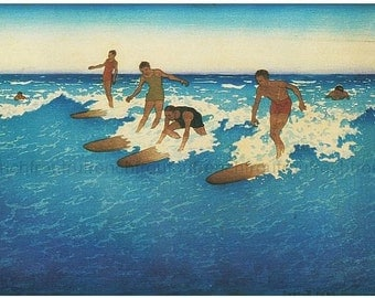 vintage illustration hawaiian surfers digital download