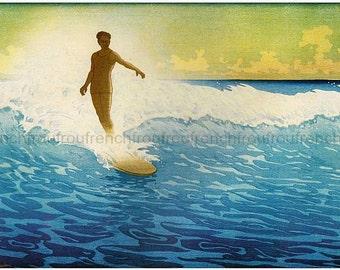 vintage hawaiian surfer illustration digital download art poster