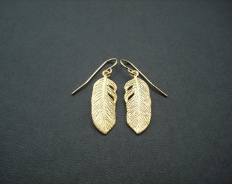 matte yellow  gold feather earrings