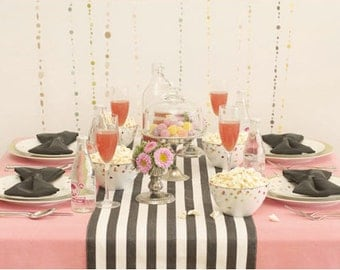 Black and White Stripe Wedding and Table Runners, Dinner table, reception table decor, baby shower, birthday party, custom sizes available