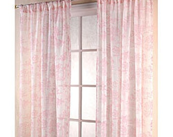 Pink and grey chevron curtain – Etsy