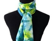 Tie Dye Silk Scarf Blue and Green11x60in * 27.94x152.4cm