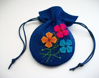 Drawstring Bag Dark Blue Felt Gift Bag Compact Pouch with Embroidered Felt Flowers Handsewn