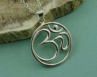 Om Necklace - Sterling Silver Om Jewelry, Yoga Necklace, Ohm Necklace, Om Pendant, Buddhist Jewelry, Yoga Gifts