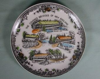 Vintage Covered Bridges of New England Souvenir Ceramic Plate Hand Colored