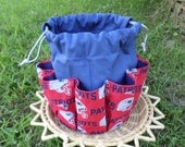 Blue Canvas Tote Cotton fabric Patriots Football design Bingo Bag Can holds up to 18 Daubers all at once