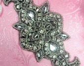 """ACT/XR75/A Black Backing Silver Beaded Crystal Rhinestone Applique 5.75"""" (ACT/XR57/A-bkcr)"""