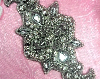 "ACT/XR75/A Black Backing Silver Beaded Crystal Rhinestone Applique 5.75"" (ACT/XR75/A-bkcr)"