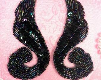 """0123 DIY Black Iris AB Aurora Borealis Mirror Pair Beaded Sequin Appliques 4.25"""" Sewing Craft Motif (0123X-bkab)"""