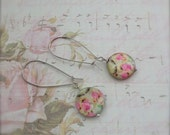 Rose Coin Earrings Pink Floral MOP Bead Earrings Shabby Romantic Whimsical Style