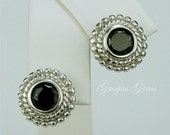 Black Spinel Sterling Silver Earrings 6mm 2ctw Natural Untreated