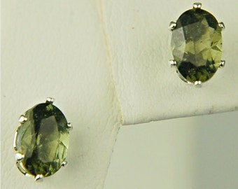 Moldavite Faceted Stud Earrings Sterling Silver 6x4mm Oval .70ctw Rare Natural Untreated