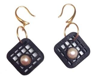 Grid Bamboo Dangle Earrings