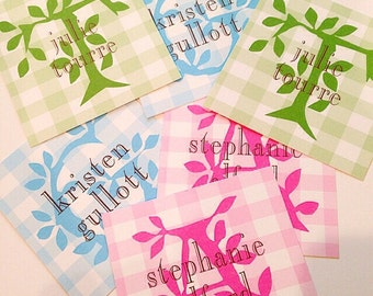 Initial gingham tags