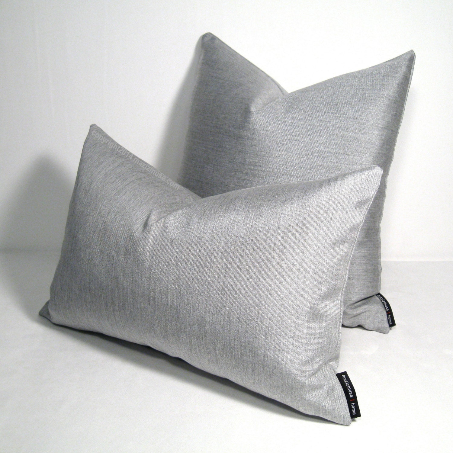 Modern Silver Pillows : Silver Grey Pillow Cover Modern Outdoor Pillows by Mazizmuse