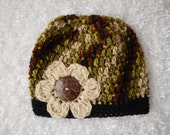 Woman's Beanie Hat - Woodsy Colored - Hand Crocheted