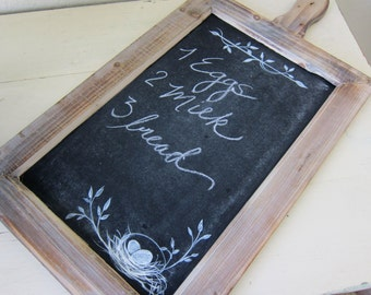 Farmhouse Chalkboard Rustic French Country Hand Painted Nest and Eggs Message Board Cottage Chic Baby Shower