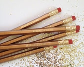 Sparkle & Shine Engraved Pencils - Gold Pencil Set of 6 - By A Blissful Nest