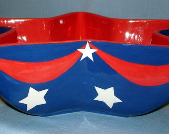 Patriotic Star Shaped Serving Bowl