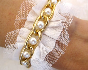 Ruffle Bridesmaid Bracelet / Pearl Bridesmaid Cuff With Netting and Gold Chain - Choose Color - Petal Pink, Black, Eggshell White, or Ivory
