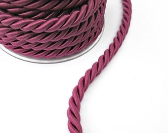Twisted silk cord, 9mm, purple satin rope, 1 meter