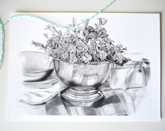 Realistic Still Life Drawing - Original Pencil Drawing - 5x7 Giclee Print SALE PRICE - was 10