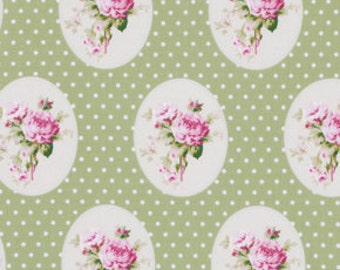 Sunshine Roses Fabric by Tanya Whelan Floral Flower 69 Old Time Roses Polka Dots Green