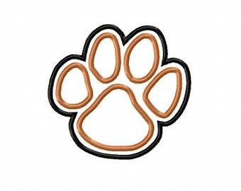 Tiger Paw Print Embroidery Machine Double Applique Design 4241