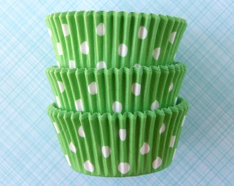 Polka Dot Cupcake Liners / Designer Light Green Baking Cups (50)