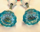 Aqua Aquamarine Crystal Doorknob Set Handpainted Glass 2 Inch Knobs 2 Sets White Hardware
